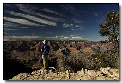 Man on South Rim of Grand Canyon at Sunset
