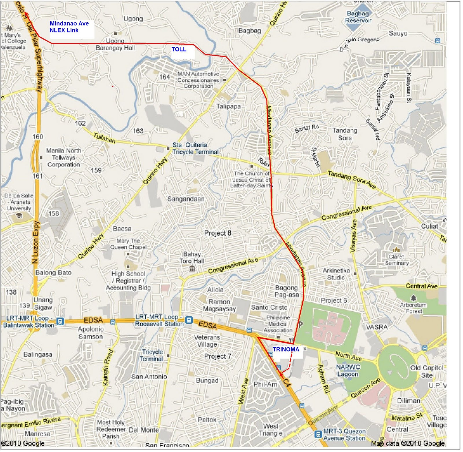 Shortcut To NLEX North Luzon Expressway From Mindanao Avenue - Location map ust