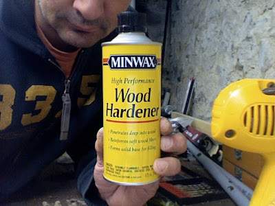 i just happened to have quick access to this one minwax high performance wood hardener this can was about 950 at home depot