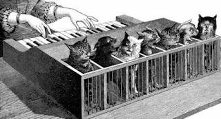 Кошачье пианино - гравюра из книги Атанасиуса Кирхера