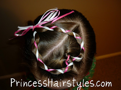 valentines hair with ribbon