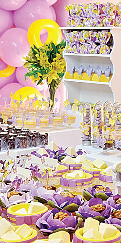 Boas Idéias festa lilas com amarelo