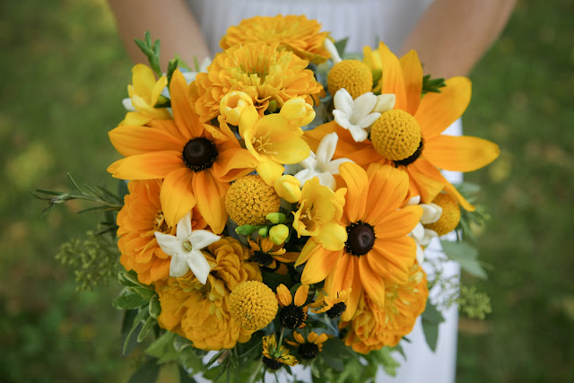 Awesome Black-Eyed Susan wedding bouquet created by Belle Fiori