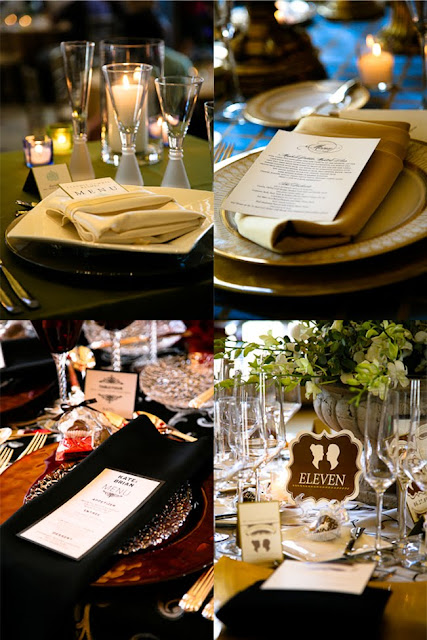 Place settings at various tables during Saz's Spring Wedding Showcase