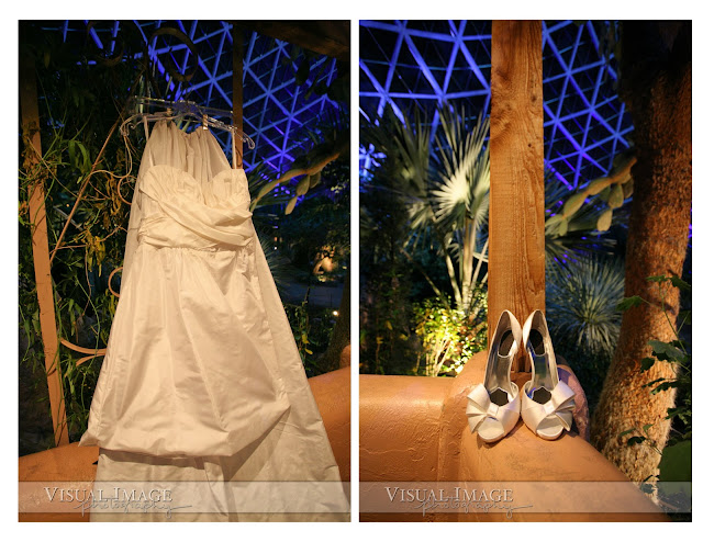 Wedding dress and shoes inside Milwaukee Domes