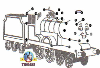 Steam train Edward the blue engine free printable dot to dot for kids puzzle online Thomas tank game