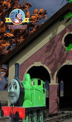 Thomas and friends Oliver the Great Western Engine at a Sodor steamworks engine house repair yard