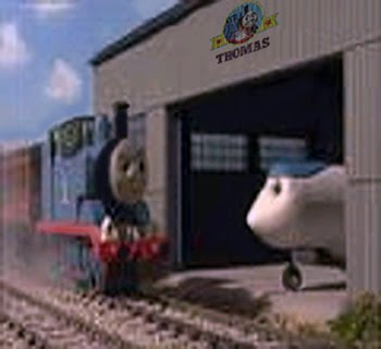 Jeremy jet plane with Thomas outside the hangar at Sodor Airport