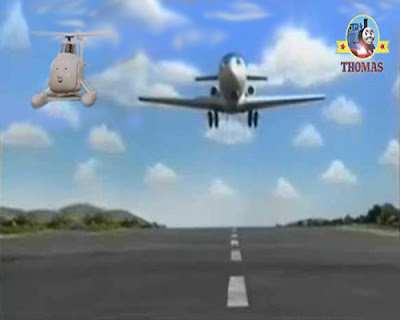 Harold helicopter with Jeremy jet plane landing on the field's airplane runway landing strip