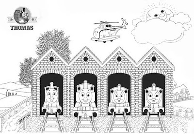 The train engine Thomas tank coloring pictures printable sheets for kids to color and paint
