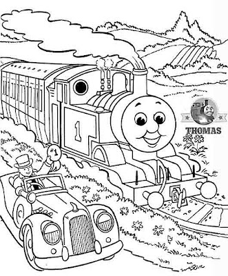 Fat Controller in this car with Thomas tank coloring printable for kids to draw
