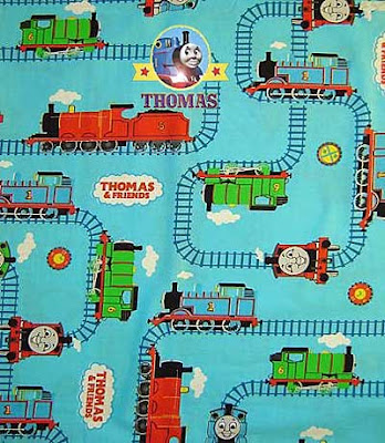 Tank engine friends and Thomas fabric cloth to make childrens delightful featuring window curtains