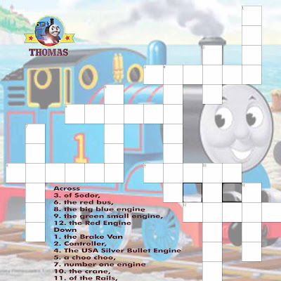 Printable free online kids crossword Thomas train friends a great educational resources puzzles
