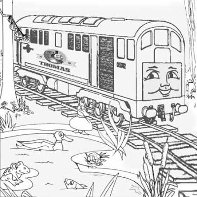 4 The Train Boco the diesel engine at Sodor duck pond frogs and fish colouring pages kids activity