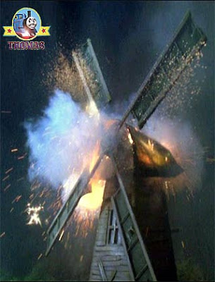 Thomas the tank engine Tobys windmill struck by a flash of lighting knocking off the big sail blades