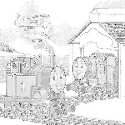The seaside Trip for Percy and Thomas the Tank Engine coloring pages