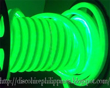 Disco tube neon pipe lighting in the color luminous green