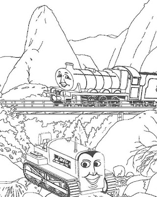 orange Terence tractor and Henry tank engine on the railway bridge free colouring pages for kids
