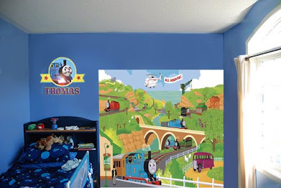 Site Blogspot  Wall Wallpaper Designs on Decor Kids Railway Wallpaper Thomas Wall Mural   Train Thomas The Tank