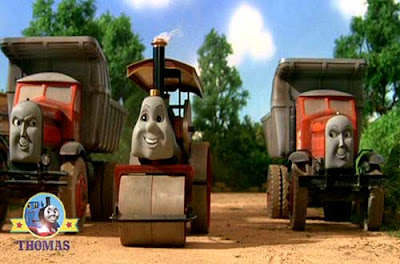 Thomas the tank engine buster the Steamroller with two trucks Max and Monty at a grand steam rally