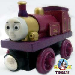 Childrens wooden train set toy take along lady the tank engine lost high up in Muffle Mountain hills