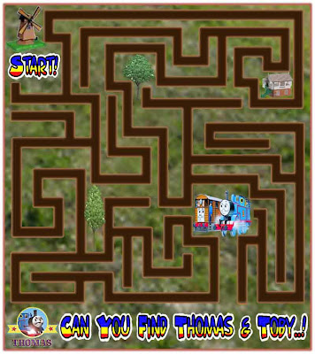Thomas the tank engine games free online maze puzzle for children with little Toby the tram engine