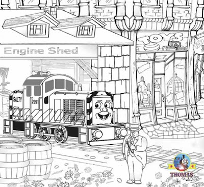 Free online Thomas coloring pages for kids arts and crafts with Salty diesel engine Sir Topham Hatt