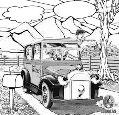 Pictures of Thomas the tank engine Caroline the car drawing artwork free printable coloring sheets