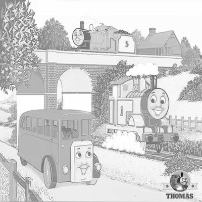 Thomas the train James the red engine and Bertie the bus coloring pages for kids online art drawing