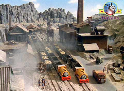 Thomas the tank engine friends Bill and Ben trains at the Center Island quarry mine Sodor Mountain