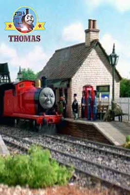 Train James engine arrived at a small railway line branch station platform to see the Fat Controller