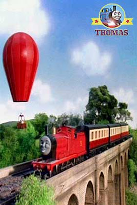 Steam express red James tank engine could see a tourist red balloon carrying the happy holidaymakers