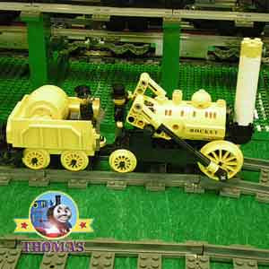 Models Lego train set the very first train rocket 1829 yellow George Stephenson rocket locomotive