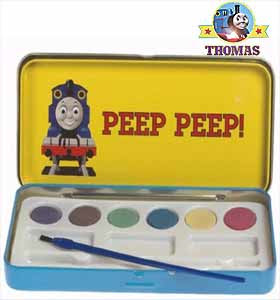 Train Thomas tank art coloring pictures sets with 6 chunks of watercolor paints and paintbrushes