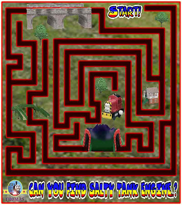 kids printable maze game free online Thomas the tank engine Salty the dockyard diesel easy puzzles
