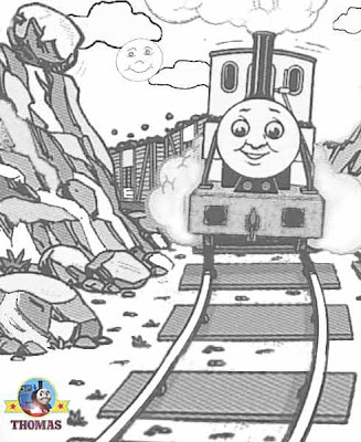 Thomas the train coloring pages with narrow gauge Duncan tank engine travels thought a mountain pass