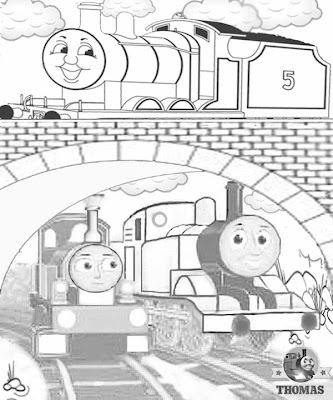 Fun train James and Thomas and the magic railroad lady the tank engine coloring pages for older kids