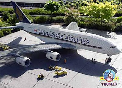 A stunning construction brick duple Thomas Lego Jeremy the jet plane large scale model at legoland