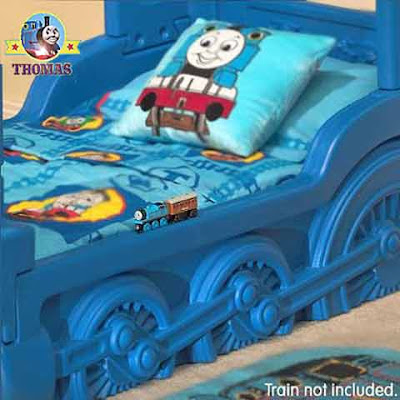 Train Themed toddler little Tikes Thomas the tank engine bed frame has exceptional helpful niches