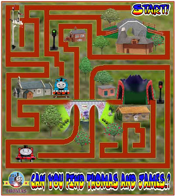 Free Online Printable Thomas and James the tank engine educational puzzle games for kids to play