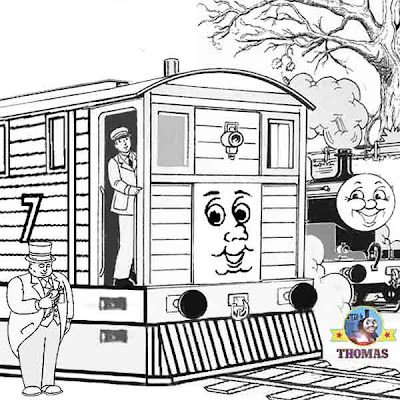 Printable train James and Thomas colouring pages for children with Tram Toby and the stout gentleman
