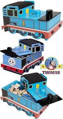 Thomas the train railway roundhouse shed storage wooden toy box set Sodor blue decorative finishing