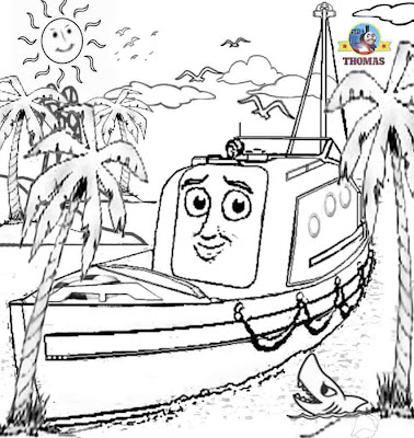 Old sea lifeboat Captain Thomas and friends misty island rescue coloring pages for kids free online