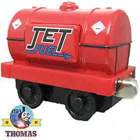 Take Along Thomas and Friends fire engine red and shiny Jet Fuel tanker vintage toy collectable 2003