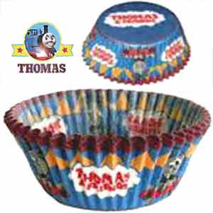 Train Thomas and friends birthday cake paper muffin cups in a blue Thomas tank party theme design