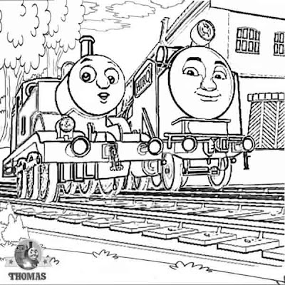 Childrens Tomas tank coloring free online printable picture sheets with Thomas and Hiro of the rails