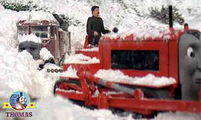 Thomas the train and Terence tractor rescued Elizabeth lorry instantly from the avalanche Snowdrift