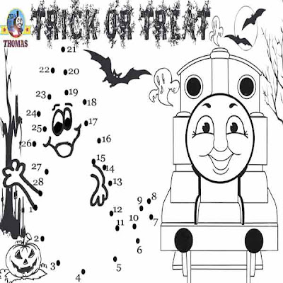 Educational Thomas tank engine Trick or Treat dot to dot printables ghost pictures for older kids