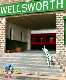 Gordon did blow a steam whistle sound this frightened the small puppy dog it fled Wellsworth station
