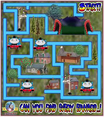Thomas and friends Edward the tank engine easy maze game puzzle for kids to print out worksheet fun